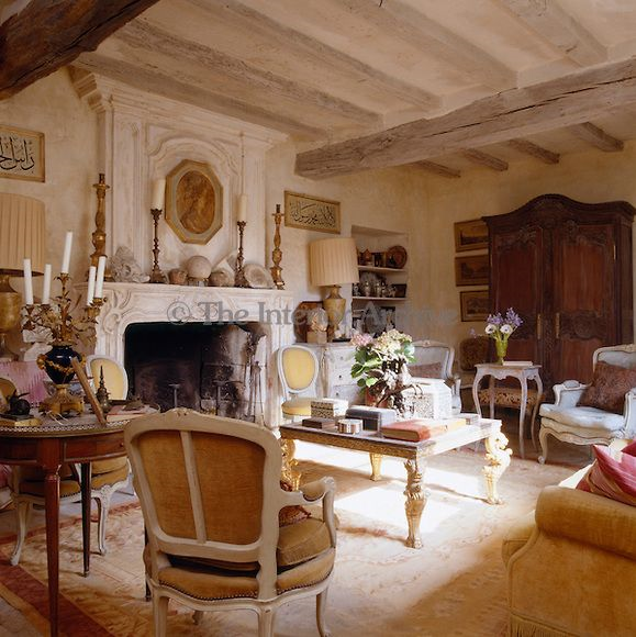 Cream and gold aubusson rugs enrich 4 traditional interiors - Gold rugs for living room ...