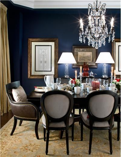 4 glamorous dining rooms with metallic accents and for Navy dining room ideas