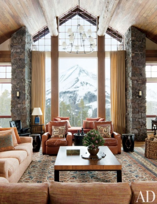 Ski and mountain homes refined by decorative rugs 22 for Ski lodge decorating ideas