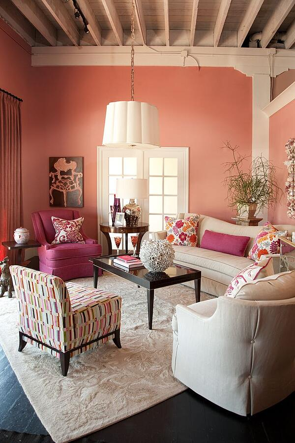 Pink Living Room Design: How To Decorate Stylishly With Pink And Pink Rugs: 15 Chic