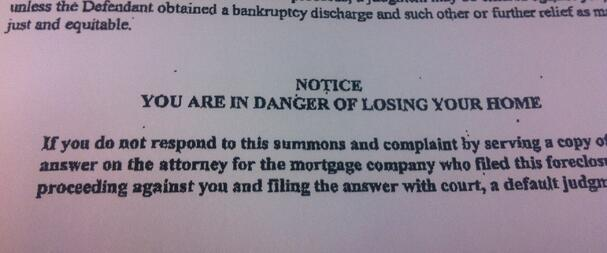 If you're not paying your mortgage, and you live in a judicial foreclosure state, at some point you will be served a foreclosure complaint and summons. Those are the documents your lender is required to give to you and file in court to move forward with foreclosure. Receiving them means you're now the defendant in a civil lawsuit.