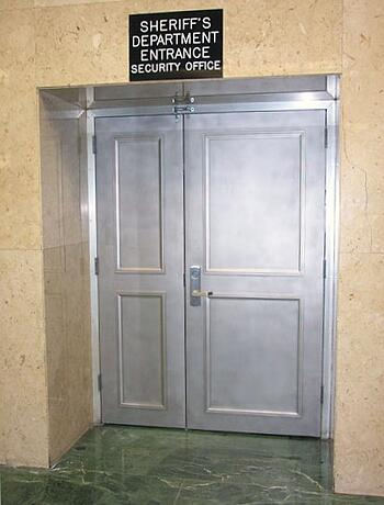 metal moulding - office door casing