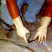 epoxy injection on floor slab cracks using taped ports