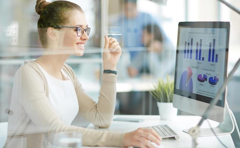 Data scientist analyzing data visualization & analytics reports