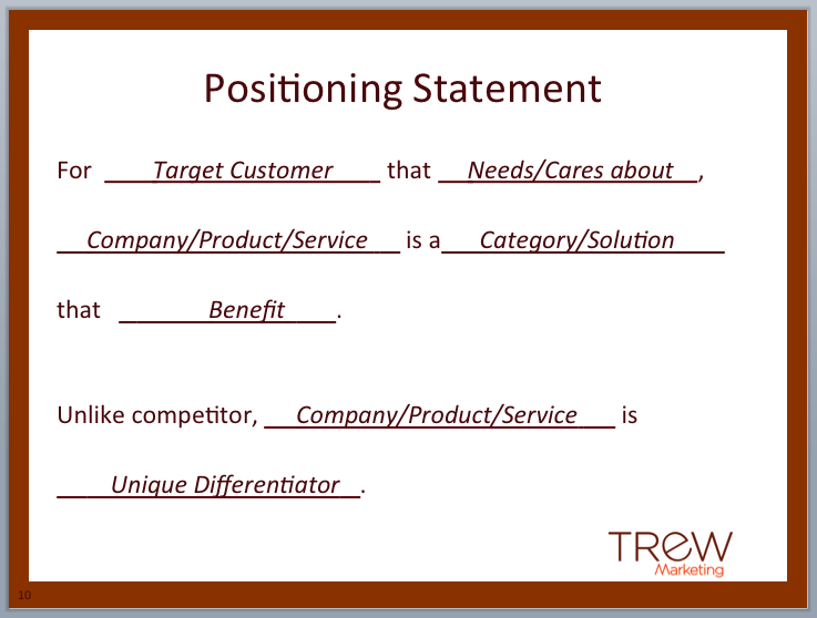 UPDATED - Creating a Product Positioning Statement