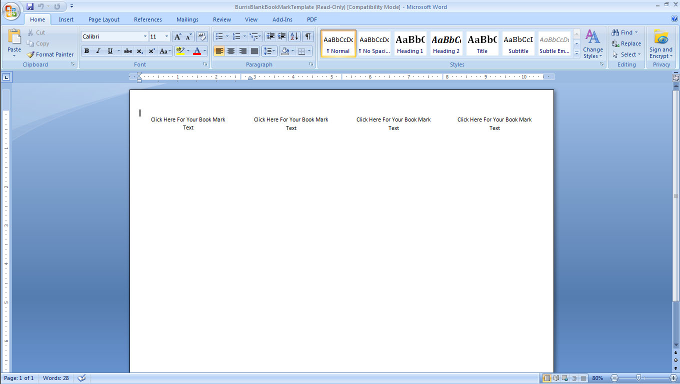 Word Bookmark Template Download Bookmark Template ms Word