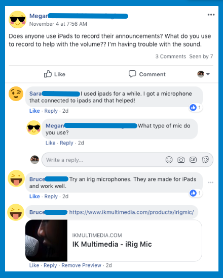 WeVideo Facebook Group ipads post