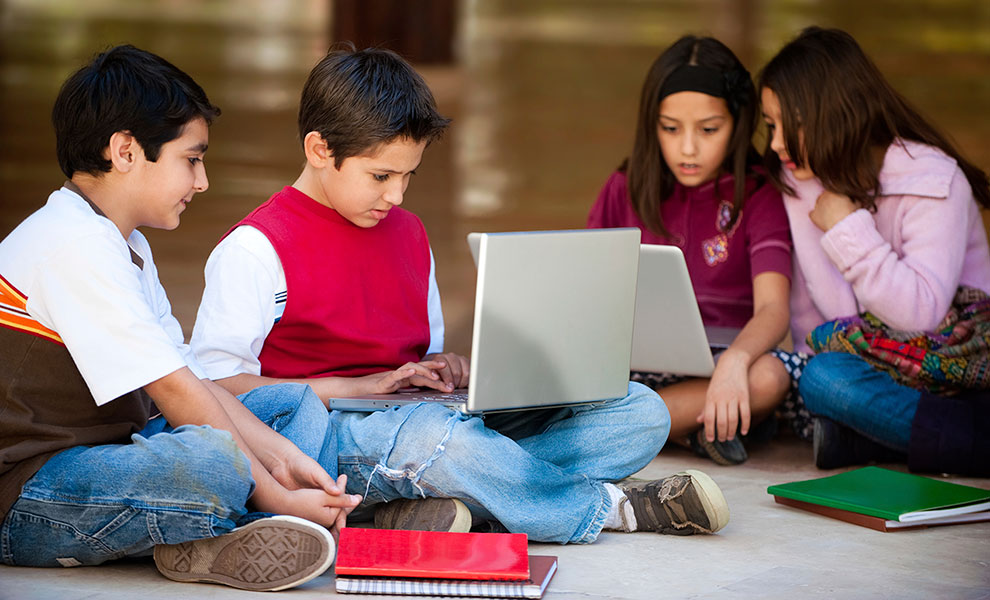 Students collaborate on classroom video projects