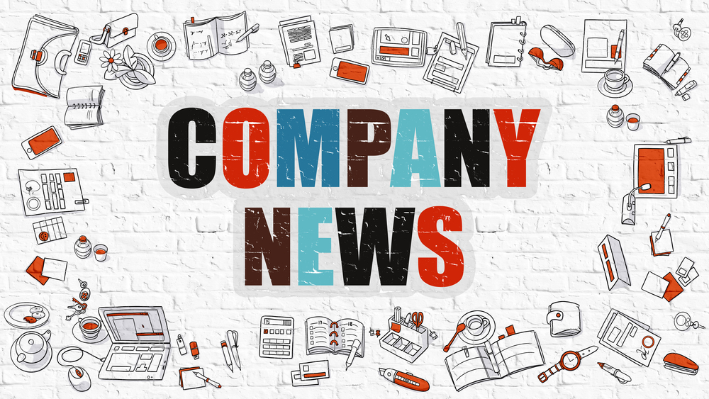 Company News. Multicolor Inscription on White Brick Wall with Doodle Icons Around. Company News Concept. Modern Style Illustration with Doodle Design Icons. Company News on White Brickwall Background.
