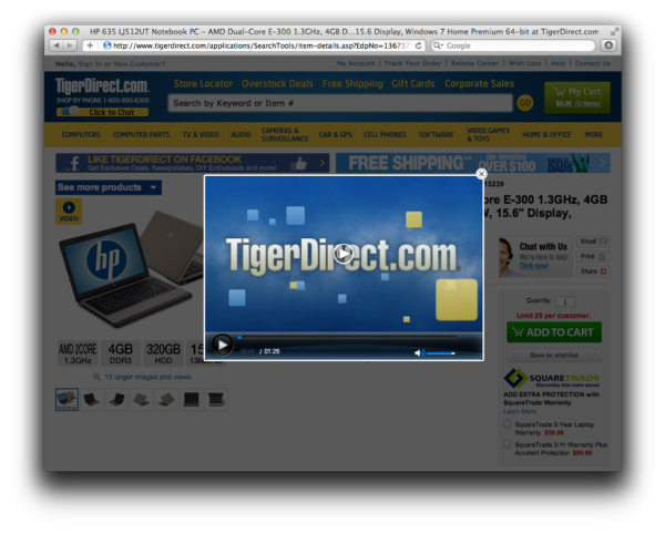 Tiger Direct Product Video Placement