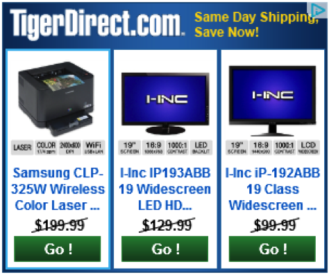 Tiger Direct display ad