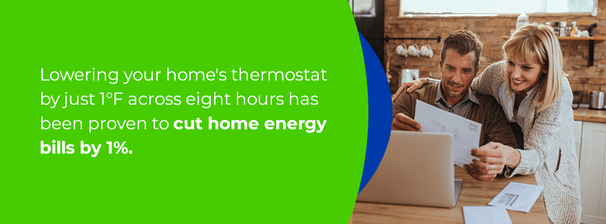 Lowering your thermostat can cut back your home energy bill