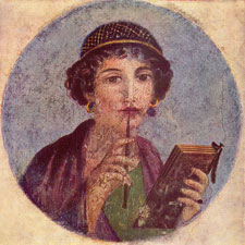 This is a portrait from Pompeii of a woman  holding a wax tablet and chewing on her stylus.