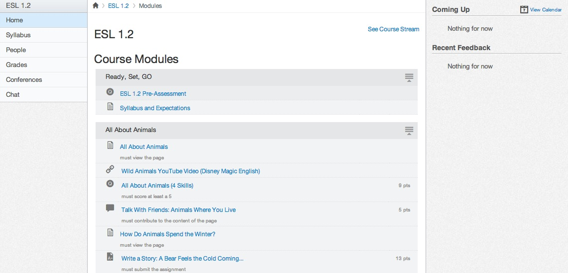 Modules home page