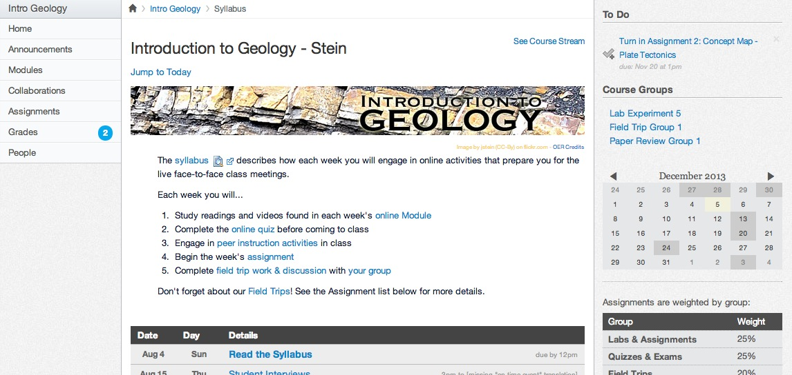 geology syllabus work
