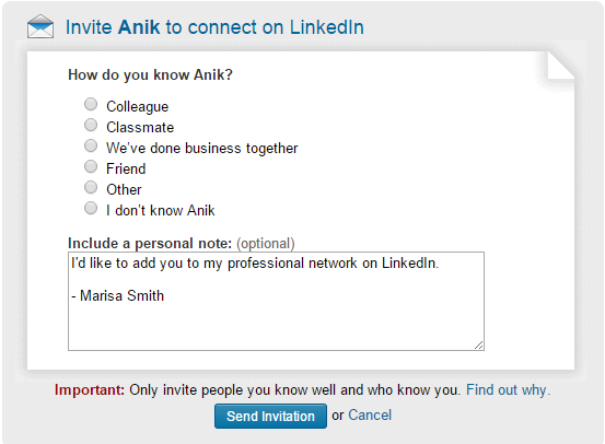 Don't use a generic LinkedIn invitation like this one!