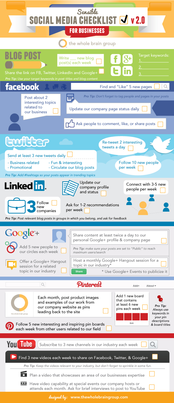 Sensible Social Media Checklist For Business V20 Infographic