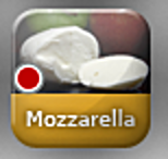 A red dot on the topping button indicates that that topping comes on the pizza.