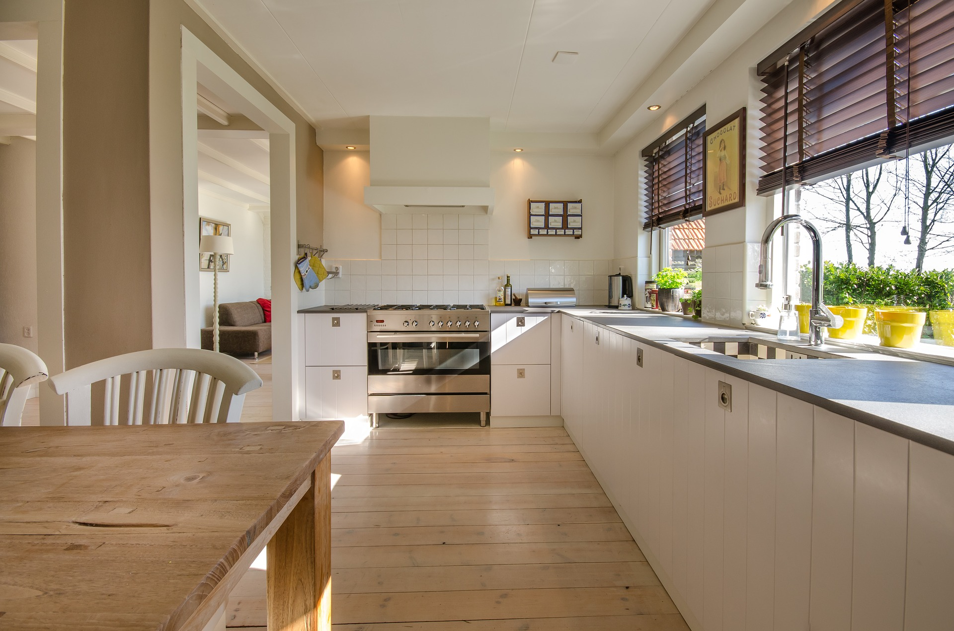 Long white kitchen