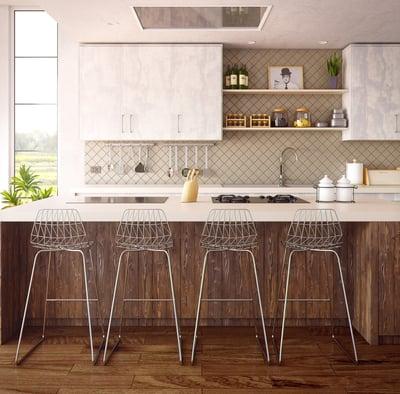 Transitional kitchen with wood island and ceramic backsplash