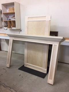 custom fireplace surround in Shaker style ready for pre-finishing