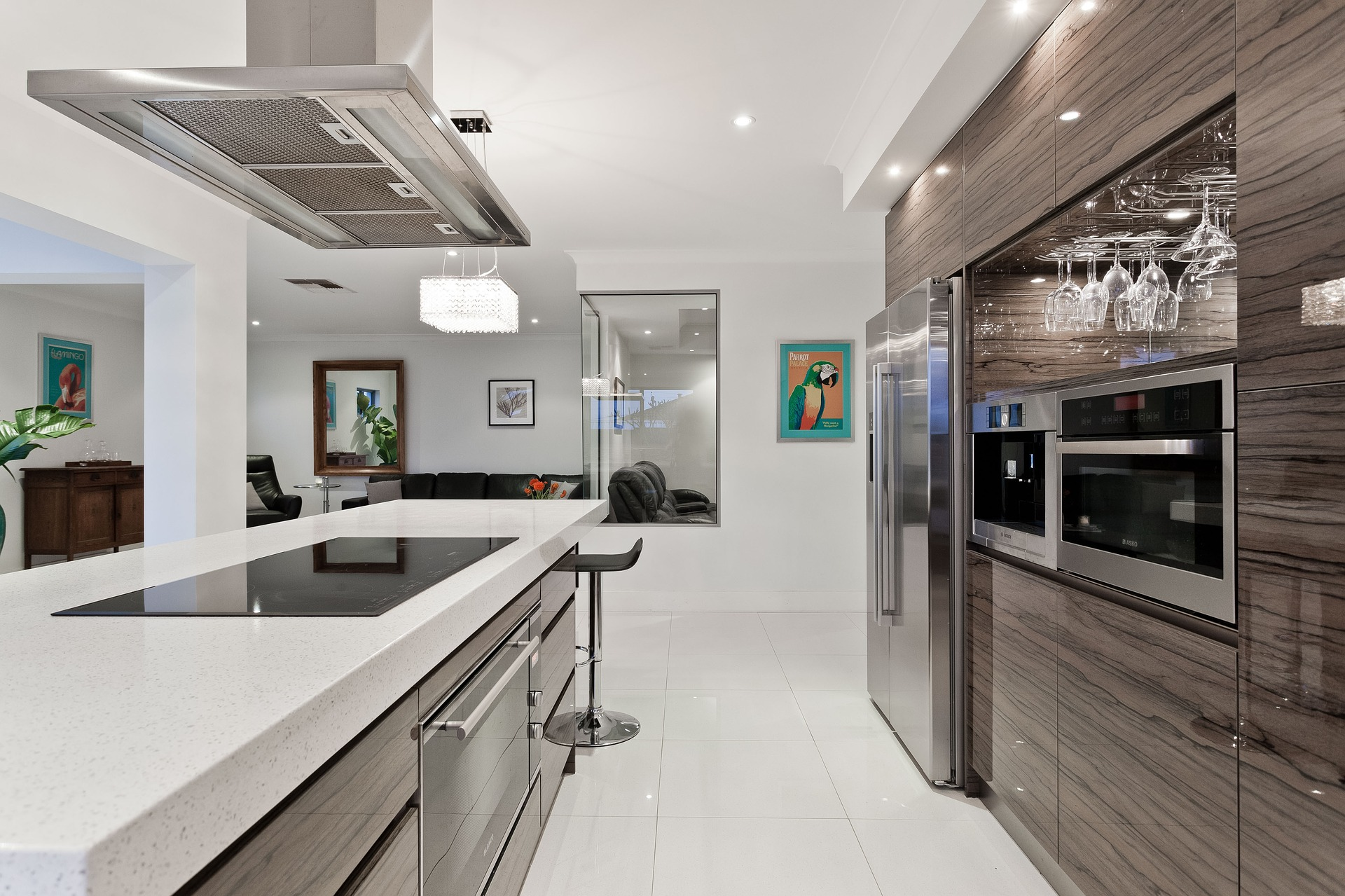 modern kitchen with striated slab style cabinetry