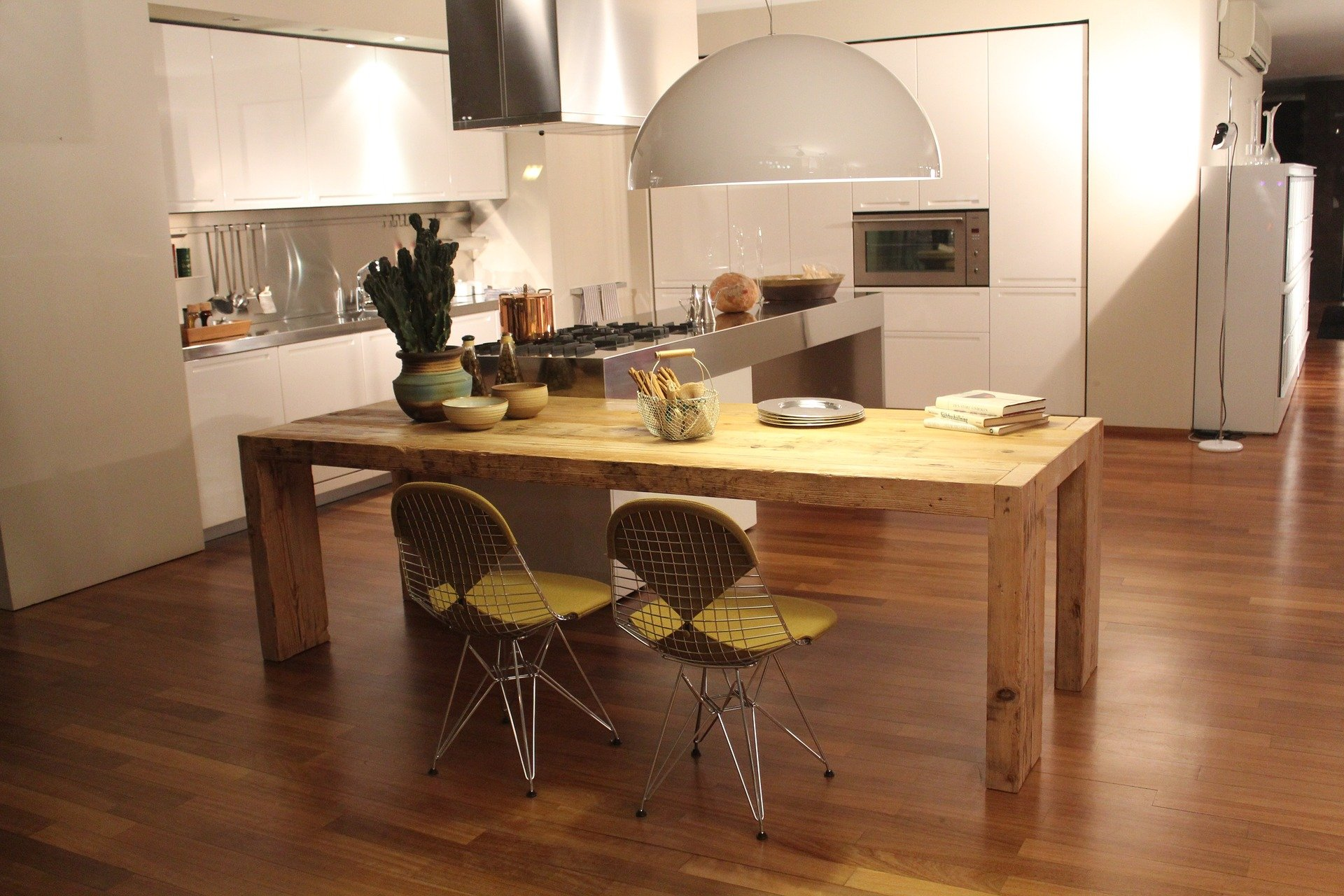 modern retro kitchen with warm wood tones