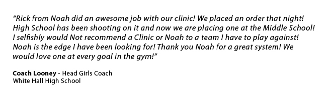 Noah offers FREE, no obligation shooting clinics in your gym, with your players. Noah shooting clinics are fast-paced, interactive and designed to educate players, coaches and fans on how to effectively increase and maintain shooting percentages. Noah Shooting Clinics are guaranteed to give you information on shooting and allow you to see and compare shots like never before.