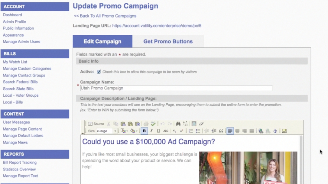 Easily edit your landing pages for each promotional campaign.