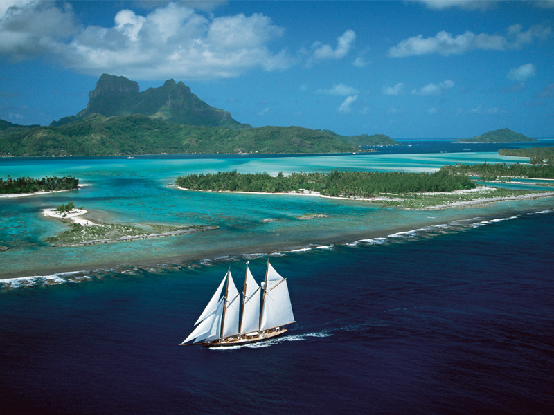 Cruising through tranquil French Polynesia is a serene choice. Photograph: Superstock