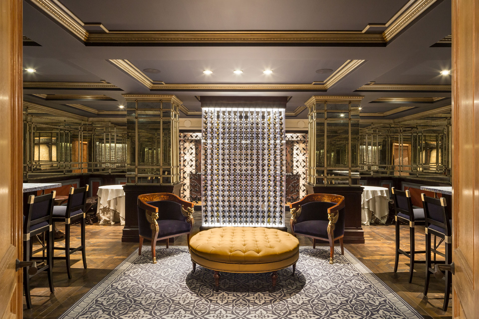 Darlington's lavish 21st-century updates include the wine room, which connects to a wine cellar and a private-club-style recreation area with cigar room (complete with humidors), a poker room, a billiard room, a home theater, a spa and beauty salon, and a restaurant-style kitchen.