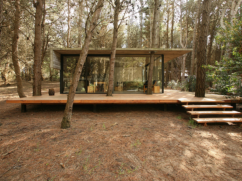 One of two summer houses owned by María Victoria Besonías and Guillermo de Almeida, the award-winning Casa Mar Azul has large glass panels that allow the structure to both integrate with its woodland setting and reflect it. Photograph: Gustavo Sosa Pinilla