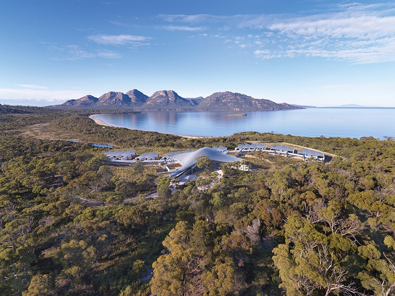 As a former caravan park, the Saffire Freycinet site was highly damaged and eroded. Great care was taken to plant 30,000 native plants to help regenerate the area and return it to its natural form.