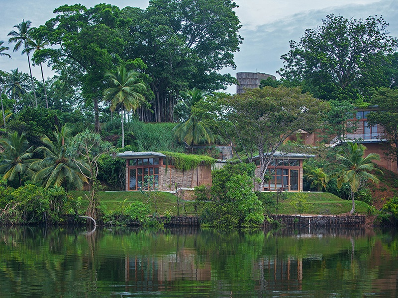 The Tri Lanka property overlooks Koggala, Sri Lanka's largest natural lake. Its hub is a water tower, which is encircled by 11 bedrooms and suites, each finished in local jak wood and granite.