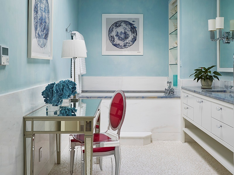"""Each room in the home—including the bathrooms—is designed to stand alone. """"We used different sinks, faucets, and vanity units for each bathroom,"""" says designer Scott Salvator. Photograph: Laura Moss"""