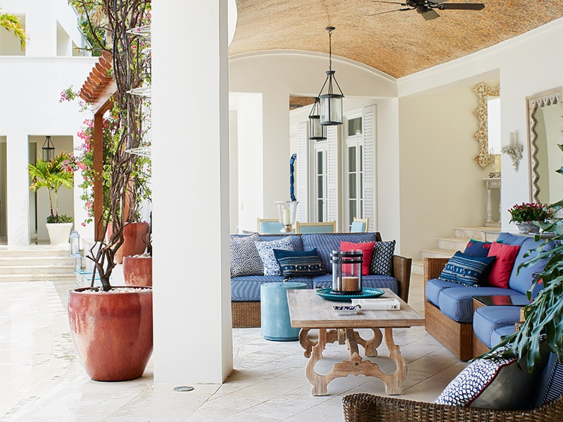 A barrel-ceiling loggia helps blur the line between indoors and out at Cerulean Villa. Photograph: Laura Moss