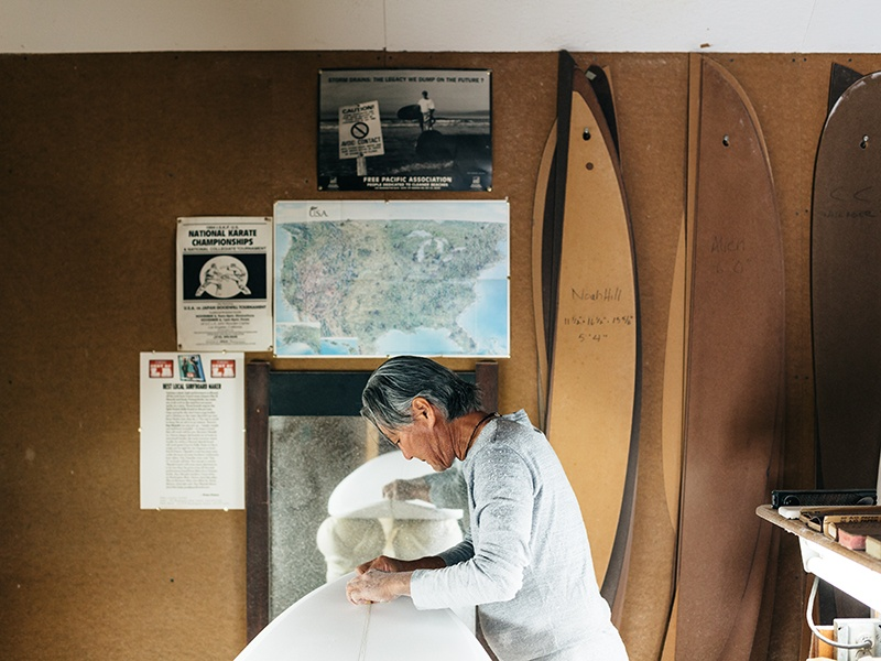 Okazaki and his team make longboards and shortboards from their studio in Venice, Los Angeles. Photograph: Brian Ferry