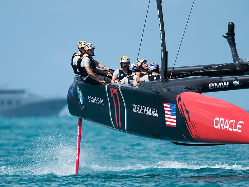 ORACLE TEAM USA competes during the second day of the America's Cup 2017. Photograph: Getty Images