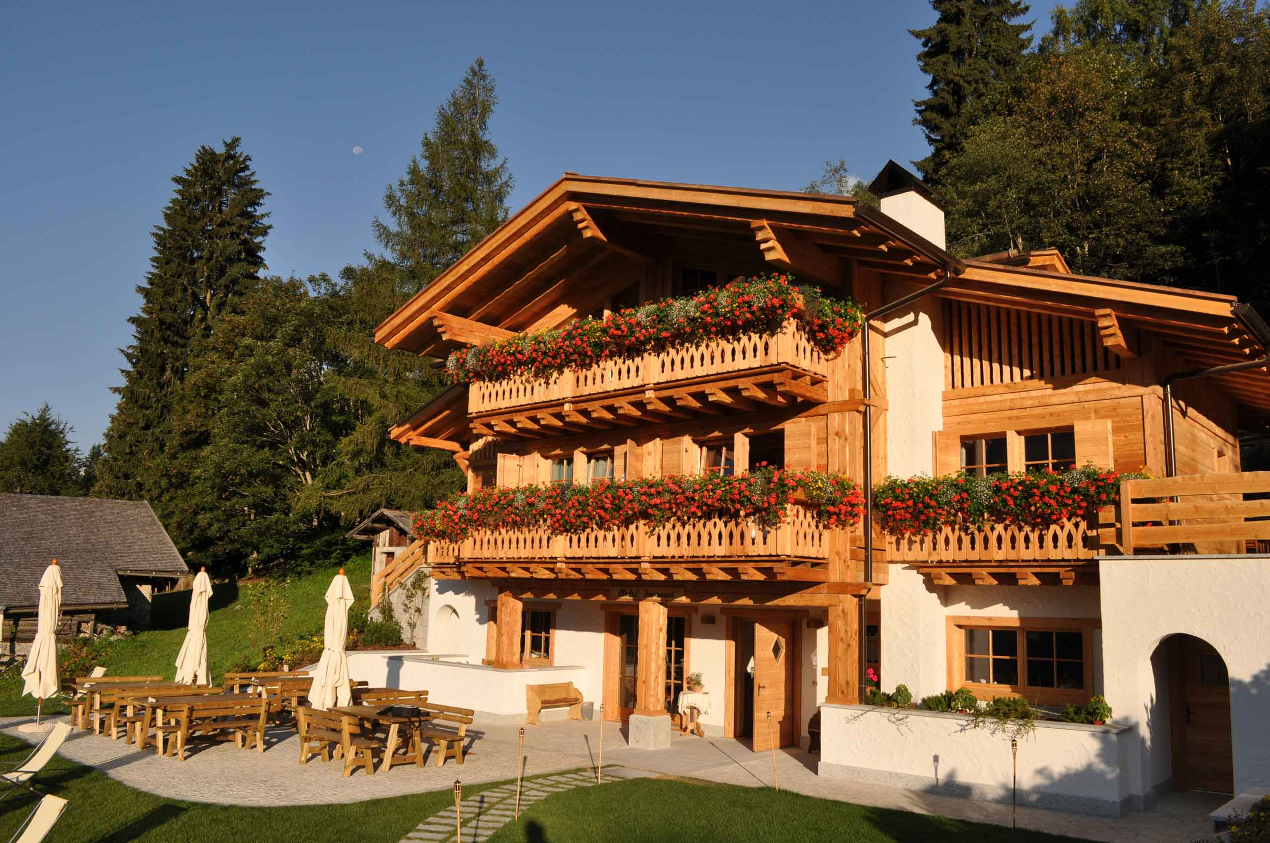 Madonna di Campiglio is equipped with an energy saving biomass boiler, and solar panels producing hot water and cistern for rainwater collection used for irrigation.