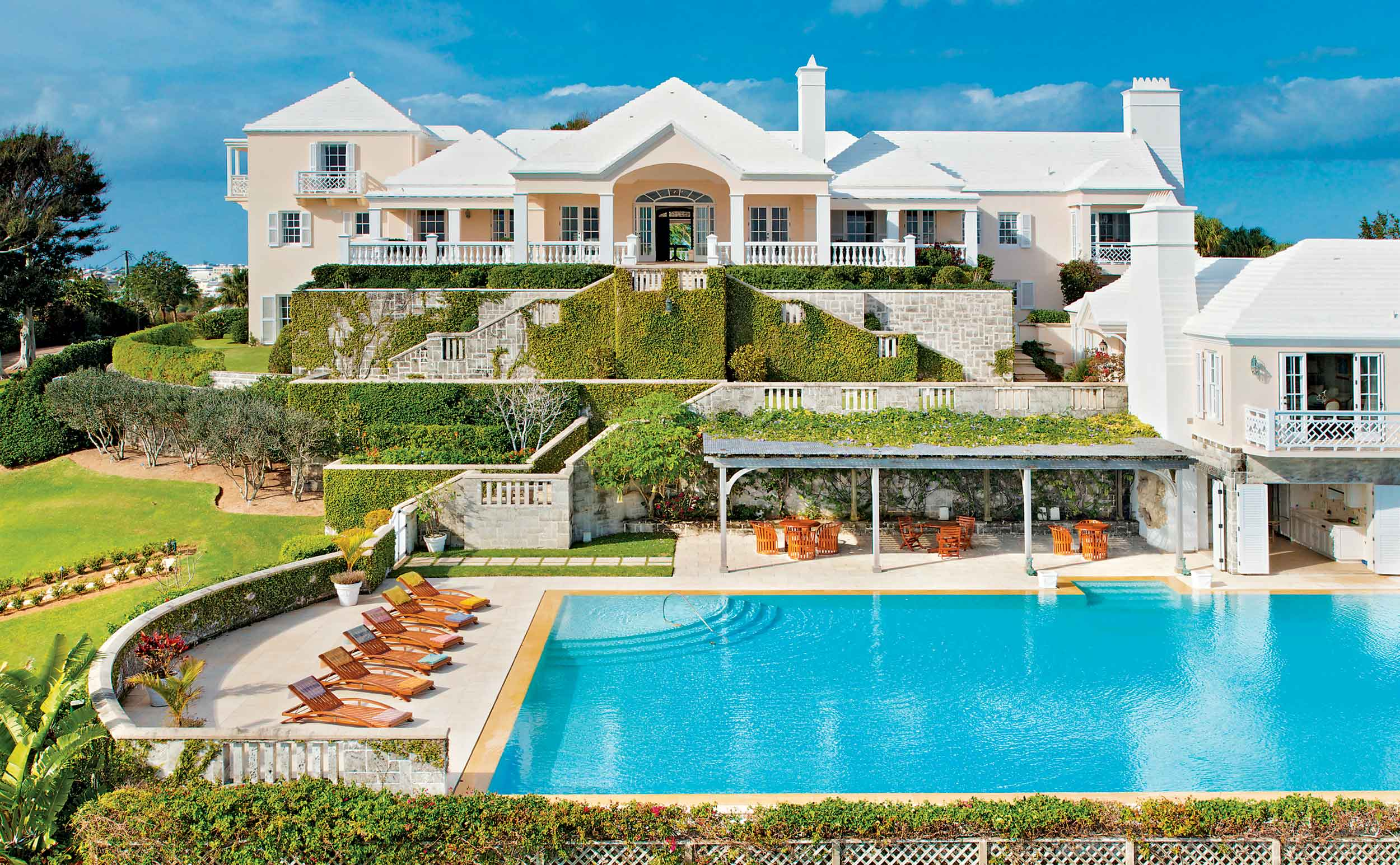 Chelston, a 14-acre beachfront compound overlooking Grape Bay, is one of the most significant estates in the world. The private family compound is just minutes from Hamilton and includes a 10,000-square-foot main house, four cottages, a beach pavilion, pool and poolhouse, and a croquet lawn.