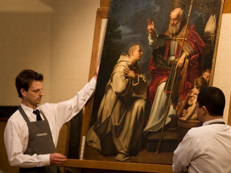 Christie's holds auctions dedicated to the Old Masters. Seen here is <i>Saint Nicholas with the three school children and a Carthusian monk</i> (year unknown) by Michele di Giovanni Desubleo (1602-76), part of an Old Master Pictures sale. Photograph: Alamy