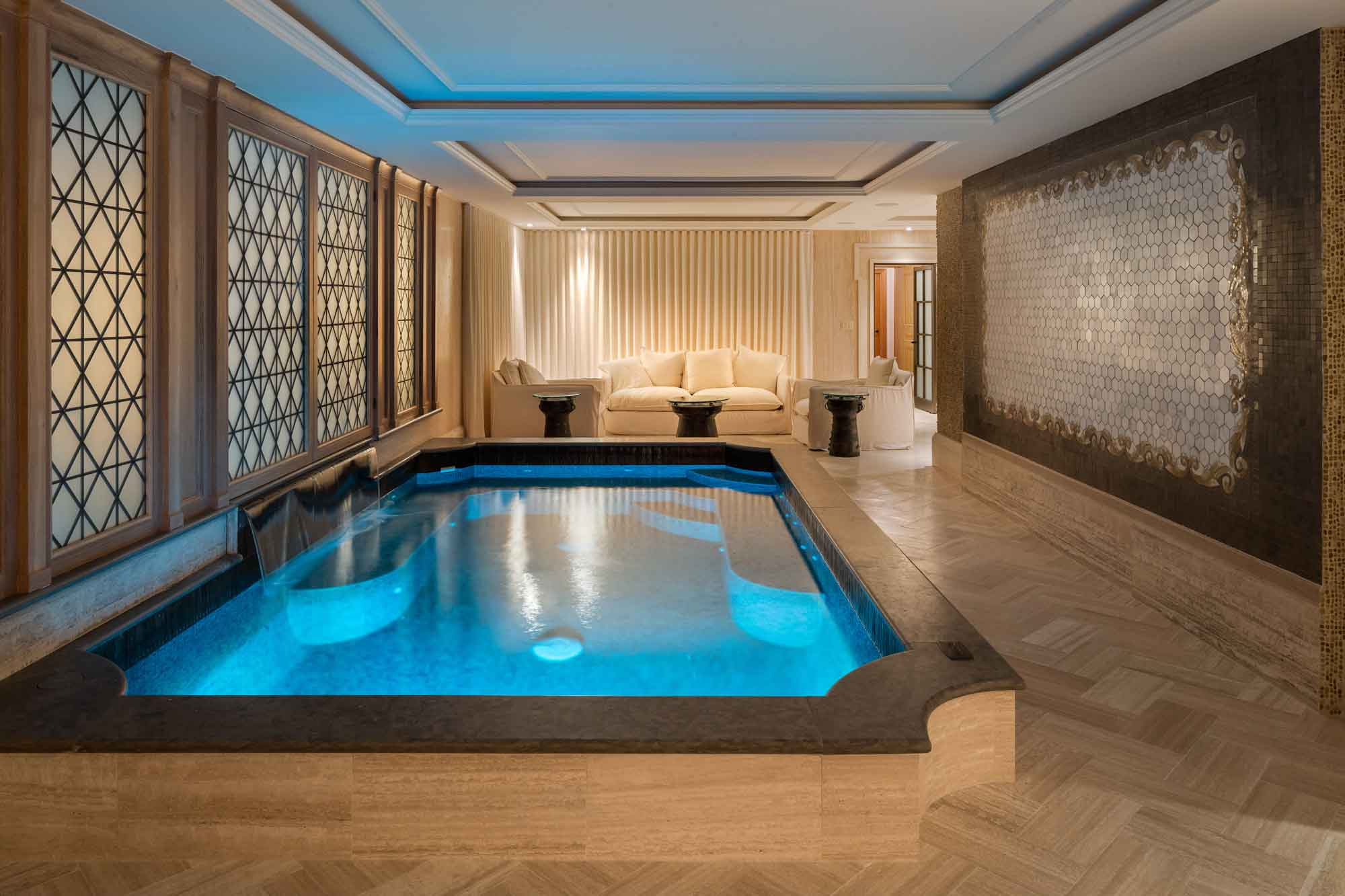 The original circa-1907 mansion was expanded by an additional 12,000 square feet to bring it into the 21st century. One of the mansion's spectacular new amenities is the luxury spa with indoor pool, steam and sauna, massage rooms, and beauty salon.