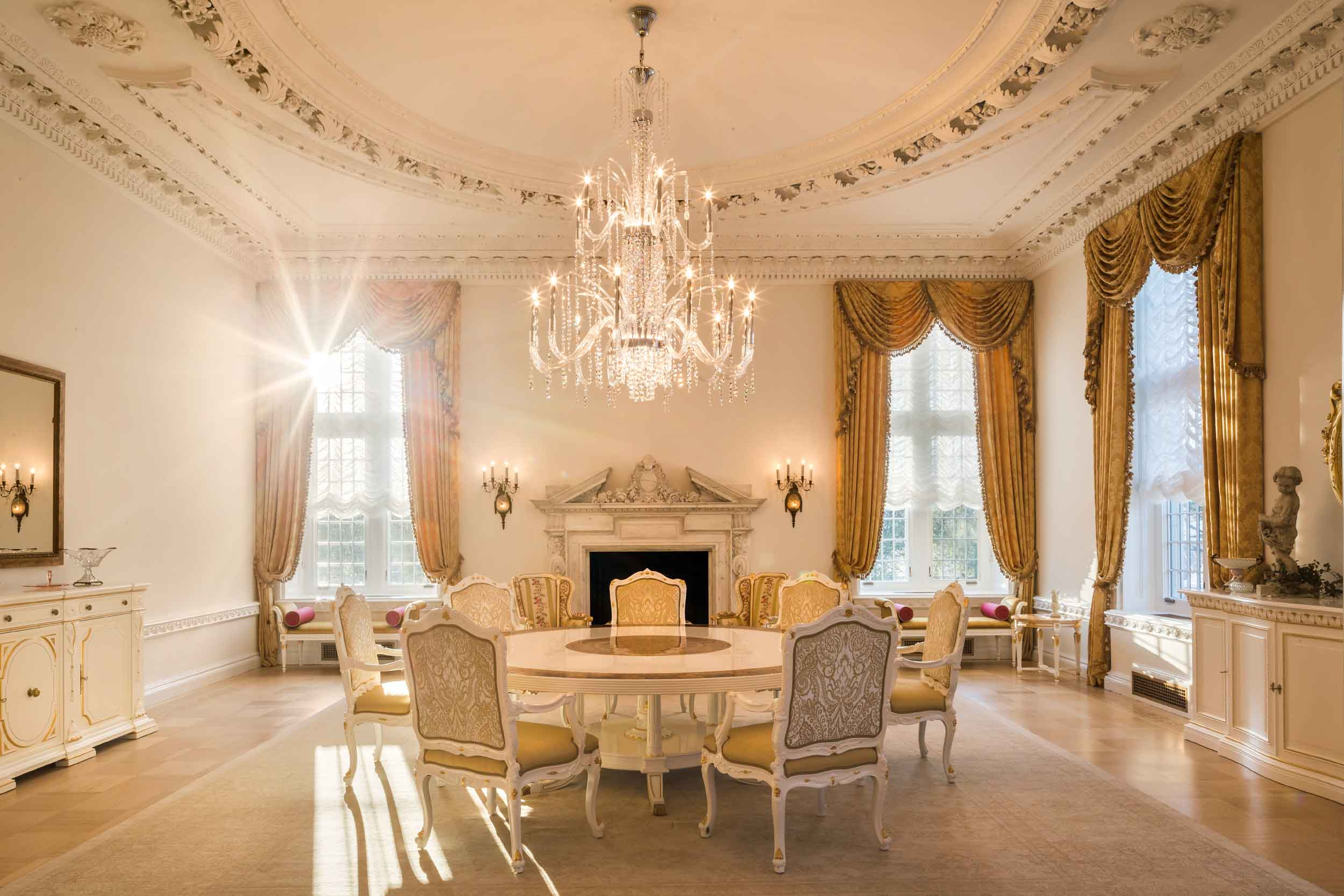 Darlington's grand appointments include a tea room (seen here), wine cellar and tasting room, cigar room, billiard room with bar, poker room, theater, luxury spa with lap pool, steam room and sauna, tennis court, and an outdoor pool with cabana.