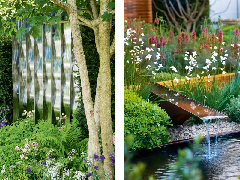 Whether it's created by a statement wall of water or an unobtrusive spout, the sound of moving water evokes a sense of calm. <i>Left:</i> Design by David Harber. Photograph: Marianne Majerus. <i>Right:</i> Design by Joe Swift for Homebase, Teenage Cancer Trust, RHS Chelsea 2012. Photograph: Helen Fickling