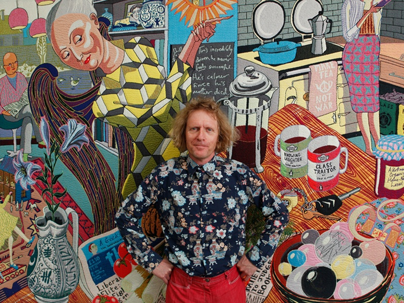Merging technology with tradition, Grayson Perry uses Photoshop and a drawing tablet to design his highly intricate tapestries, such as <i>The Annunciation of the Virgin Deal</i> (2012), seen here (detail). Photograph: © Rii Schroer/The Telegraph