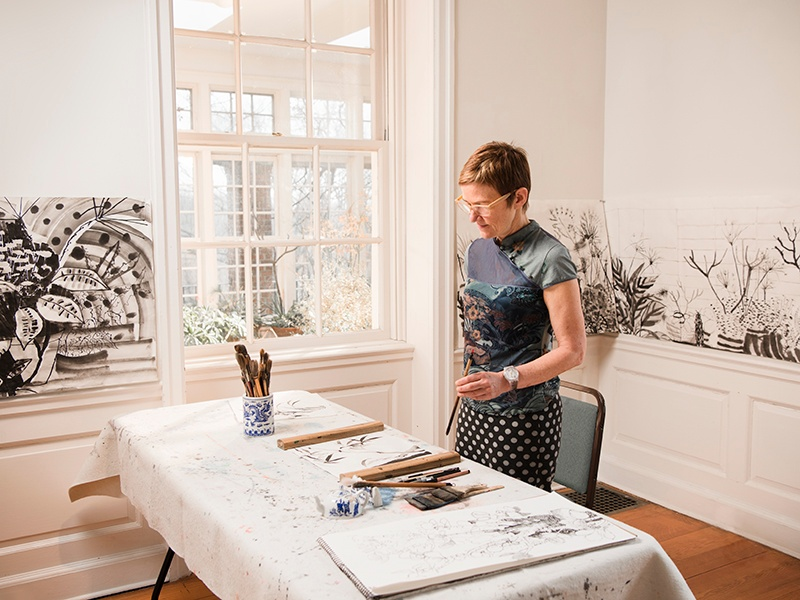 """""""Treating the painting like a drawing invites serendipity and freedom,"""" says Elisabeth Condon. Photograph: Laura Barisonzi"""