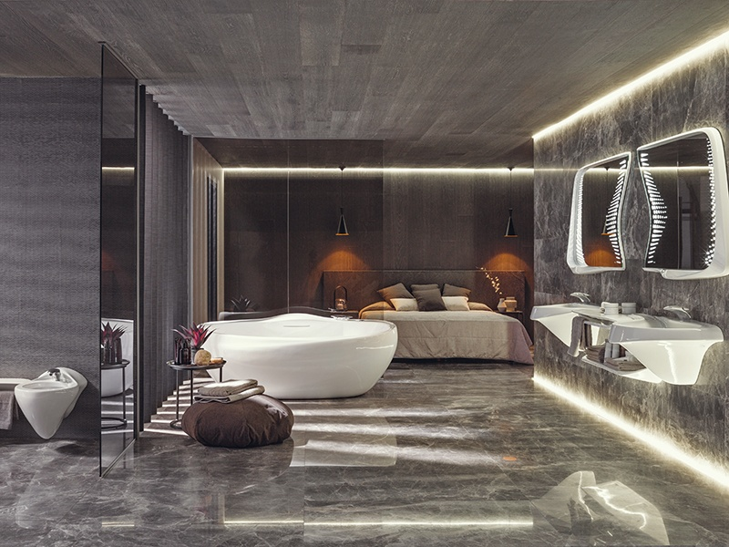 The curvaceous Vitae collection was designed by Zaha Hadid and Patrik Schumacher for Porcelanosa.