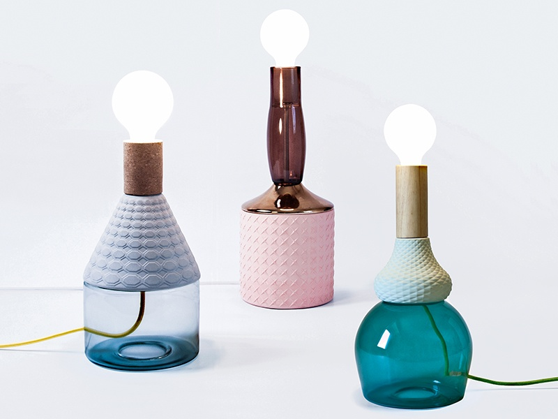 Elena Salmistraro combines poetry and functionality in her MRND bottle lamps: Dina (blue), Anna (pink), and Maria Teresa (green).