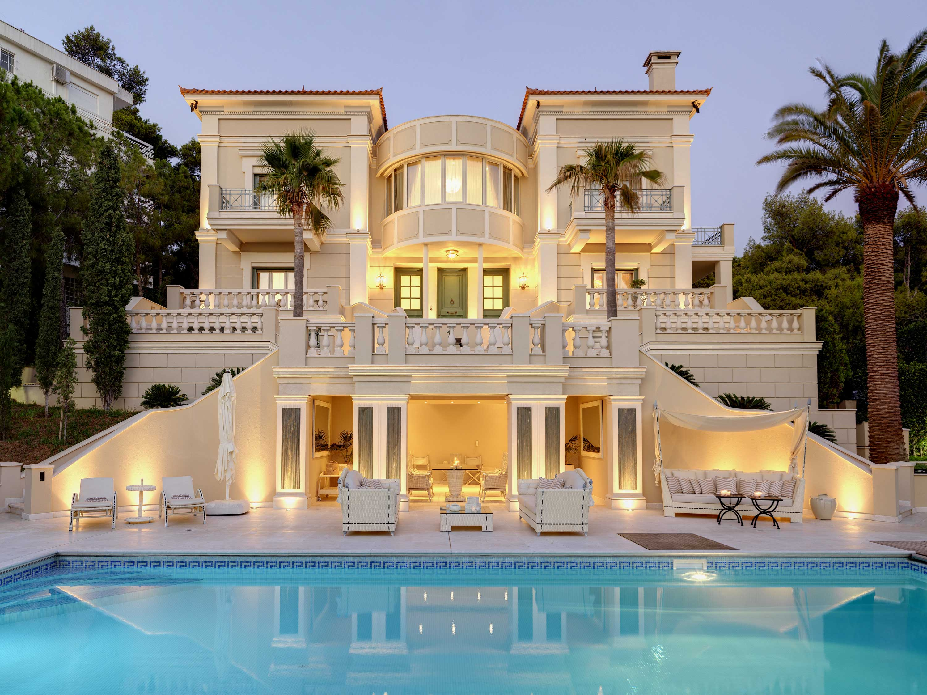 This estate on the Athenian Riviera exudes Old World glamour and style. The residence has been exquisitely illuminated both inside and out.