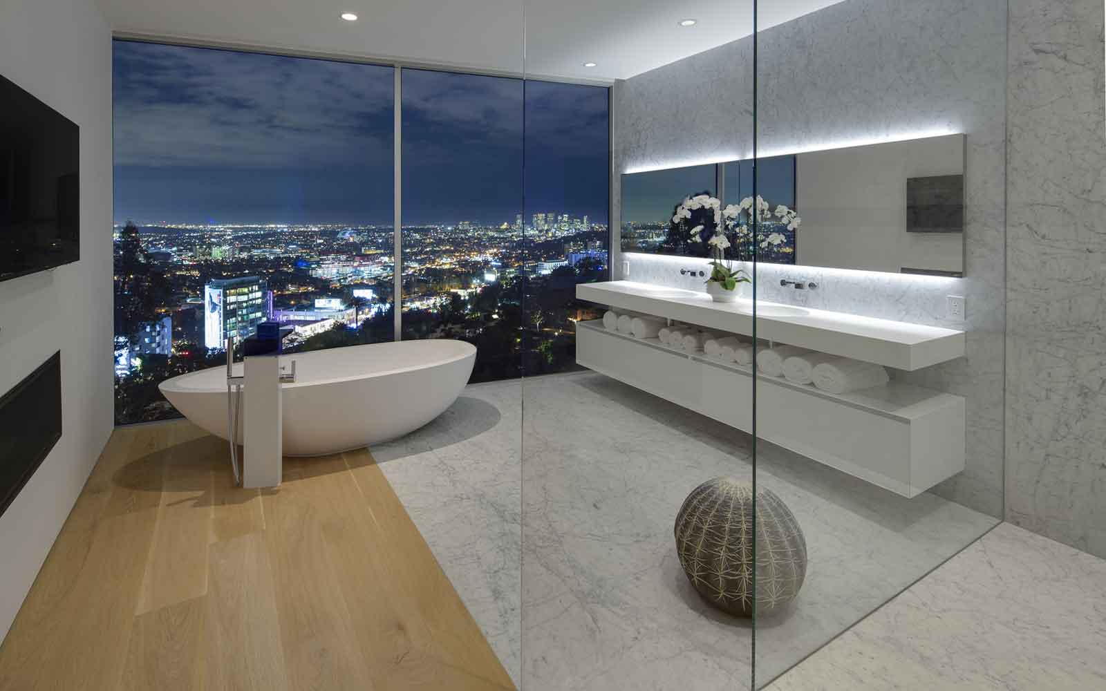 A room with a view. This dazzling contemporary home on Sunset Strip boasts an array of stellar features, but the star attraction is a spa-like master bathroom overlooking the City of Angels.